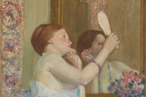 frederick-carl-frieseke_woman_with_mirror