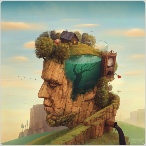 clock_brain_human_rock_tree_oil_water_flow_house_home_think_alone_art_painting_imagine
